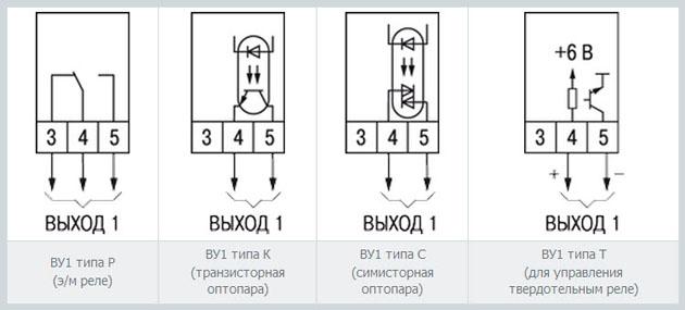 Схемы подключения выходного устройства 1 (ВУ1)