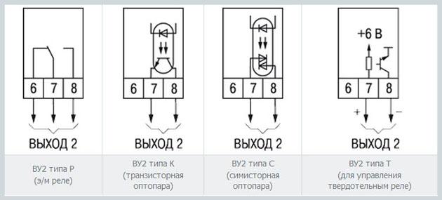 Схемы подключения выходного устройства 2 (ВУ2)